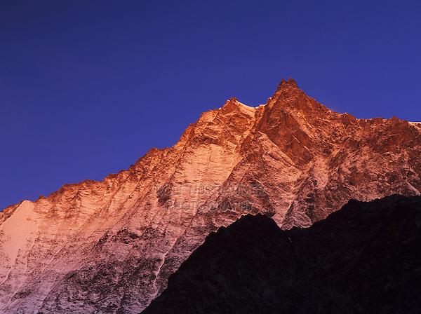 Lenzspitze at sunrise, Saas Fee, Swiss Alps, Switzerland