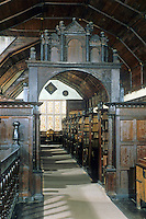 Oxford: Morton College Library, Interior, 1371-79. Modernized end of 16th & beginning 17th C. The 'Classical' Screen, foreground, from this period.