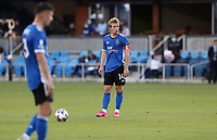 SAN JOSE, CA - MAY 15: Jackson Yueill #14 of the San Jose Earthquakes stands over the ball during a game between Portland Timbers and San Jose Earthquakes at PayPal Park on May 15, 2021 in San Jose, California.