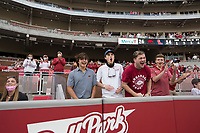 Fans react, Saturday, October 17, 2020 during Arkansas' 33-21 win over Ole Miss at Donald W. Reynolds Razorback Stadium in Fayetteville. Check out nwaonline.com/201018Daily/ for today's photo gallery. <br /> (NWA Democrat-Gazette/Charlie Kaijo)
