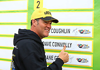 Aug 17, 2014; Brainerd, MN, USA; NHRA pro stock driver Jeg Coughlin placed his name plate in the number 4 spot on the wall of qualifiers in the countdown during the Lucas Oil Nationals at Brainerd International Raceway. Mandatory Credit: Mark J. Rebilas-