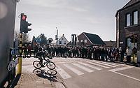 Aleksejs Saramotins (LVA/BORA-hansgrohe) leading the race (as part of the breakaway group)<br /> <br /> Omloop Het Nieuwsblad 2018<br /> Gent › Meerbeke: 196km (BELGIUM)