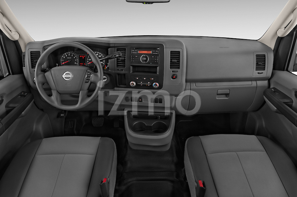 Stock photo of straight dashboard view of a 2015 Nissan NV Cargo 2500 Standard Roof S V6 Door Cargo Van Dashboard