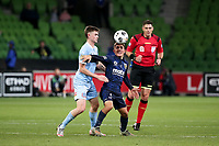 22nd May 2021, Melbourne, Australia;  Josh Nisbet of the Central Coast Mariners controls a high ball during the Hyundai A-League football match between Melbourne City FC and Central Coast Mariners at AAMI Park in Melbourne, Australia.