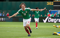 Andres Guardado celebrates after his goal. Mexico defeated Paraguay 3-1 at the Oakland Coliseum in Oakland, California on March 26th, 2011.