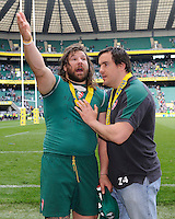 Martin Castrogiovanni of Leicester Tigers gestures at the end of the Aviva Premiership Final between Leicester Tigers and Northampton Saints at Twickenham Stadium on Saturday 25th May 2013 (Photo by Rob Munro)