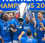 15.05.2021 Rangers v Aberdeen: Kemar Roofe with the SPFL Premiership league trophy