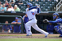 Iowa Cub third baseman Stephen Bruno (11) in action during a game against the Round Rock Express at Principal Park on April 16, 2017 in Des  Moines, Iowa.  The Cubs won 6-3.  (Dennis Hubbard/Four Seam Images)