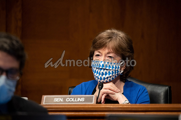 """United States Senator Susan Collins (Republican of Maine) listens during the US Senate Health, Education, Labor, and Pensions Committee hearing titled """"COVID-19: Going Back to School Safely"""" on Capitol Hill in Washington, DC on Thursday, June 4, 2020.<br /> Credit: Ting Shen / CNP/AdMedia"""