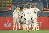 FOXBOROUGH, MA - NOVEMBER 1: Yamil Asad #11 of DC United celebrates his goal during a game between D.C. United and New England Revolution at Gillette Stadium on November 1, 2020 in Foxborough, Massachusetts.