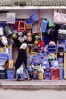 Essaouira, Morocco - Street Scene, Sidewalk Store, Home Utensils, Toys, Plastics