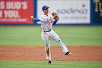 St. Lucie Mets shortstop Andres Gimenez (12) throws home during the first game of a doubleheader against the Charlotte Stone Crabs on April 24, 2018 at First Data Field in Port St. Lucie, Florida.  St. Lucie defeated Charlotte 5-3.  (Mike Janes/Four Seam Images)