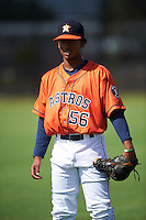 GCL Astros Jose Benjamin (56) during warmups before the first game of a doubleheader against the GCL Mets on August 5, 2016 at Osceola County Stadium Complex in Kissimmee, Florida.  GCL Astros defeated the GCL Mets 4-1 in the continuation of a game started on July 21st and postponed due to inclement weather.  (Mike Janes/Four Seam Images)