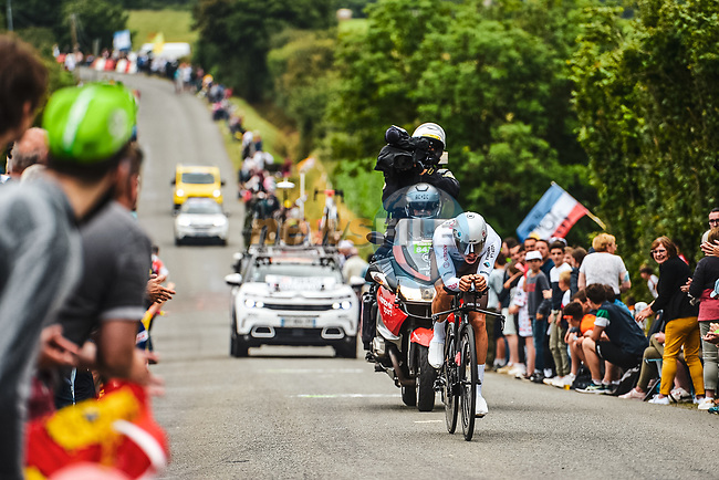 Benoit Cosnefroy (FRA) AG2R Citroen Team in action during Stage 5 of the 2021 Tour de France, an individual time trial running 27.2km from Change to Laval, France. 30th June 2021.  <br /> Picture: A.S.O./Charly Lopez | Cyclefile<br /> <br /> All photos usage must carry mandatory copyright credit (© Cyclefile | A.S.O./Charly Lopez)