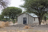 Tanzania. Church alongside Road Leading to Tarangire National Park.