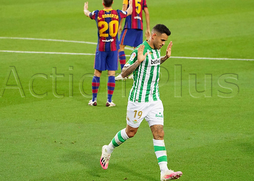 7th November 2020; Camp Nou, Barcelona, Catalonia, Spain; La Liga Football, Barcelona versus Real Betis;  Sanabria of Betis celebrates after scoring the equalising goal for 1-1 in the 45th minute
