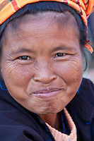 Myanmar, Burma.  Woman of Pa-O Ethnic Group at Local Market, Inle Lake, Shan State.