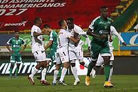 BOGOTÁ- COLOMBIA, 14-06-2021:Andrey Estupinan del Deportes Tolima  celebra después de anotar  el gol de su equipo durante partido por la semifinal  entre La Equidad y el Depotes Tolima como parte de la Liga BetPlay DIMAYOR 2021 jugado en el estadio  Metropolitano de Techo de la ciudad de Bogotá / Andrey Estupinan of eortes Tolima  celebrates after scoring his team's goal during the semifinal match between La Equidad and Deportes Tolima  as part of the BetPlay DIMAYOR 2021 League played at the Metropolitano de Techo stadium in the city of Bogotá. Photo: VizzorImage / Felipe Caicedo / Staff