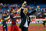 FC Barcelona's coach Luis Enrique Martinez (r) and Sergio Busquets celebrate the victory in the Spanish Kings Cup Final match. May 22,2016. (ALTERPHOTOS/Acero)