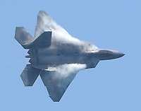 FORT LAUDERDALE, FL - MAY 04: U.S. Air Force F-22 Raptor performs in the Fort Lauderdale Air Show on May 4, 2019 in Fort Lauderdale, Florida<br /> <br /> <br /> People:  U.S. Air Force F-22 Raptor