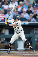 Michigan Wolverines shortstop Jack Blomgren (2) at bat against the Vanderbilt Commodores during Game 1 of the NCAA College World Series Finals on June 24, 2019 at TD Ameritrade Park in Omaha, Nebraska. Michigan defeated Vanderbilt 7-4. (Andrew Woolley/Four Seam Images)