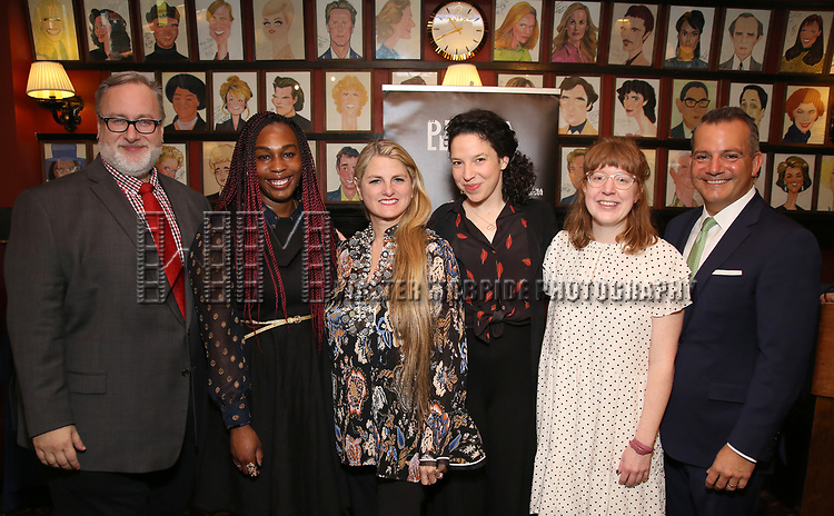 Gabriel Stelian-Shanks, NJ Agwuna, Lindsey Hope, Bonnie Comley, Rebecca Marzalek-Kelly and Stan Ponte attends the 2019 Drama League Nominees Announcement at Sardi's on April 17, 2019 in New York City.