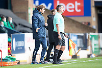 Matt Taylor, Manager of Exeter City looks to get his message across during Southend United vs Exeter City, Sky Bet EFL League 2 Football at Roots Hall on 10th October 2020