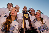North Carolina Tar Heels players pose for photos after the game. The North Carolina Tar Heels defeated the Notre Dame Fighting Irish 2-1 during the finals of the NCAA Women's College Cup at Wakemed Soccer Park in Cary, NC, on December 7, 2008. Photo by Howard C. Smith/isiphotos.com