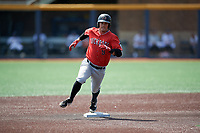 Batavia Muckdogs Andrew Turner (9) running the bases during a NY-Penn League game against the West Virginia Black Bears on August 29, 2019 at Monongalia County Ballpark in Morgantown, New York.  West Virginia defeated Batavia 5-4 in ten innings.  (Mike Janes/Four Seam Images)