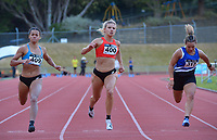 Natasha Eady wins the elite women's 100m ahead of Briana Stephenson (left) and Genna Maples (right). 2021 Capital Classic athletics at Newtown Park in Wellington, New Zealand on Saturday, 20 February 2021. Photo: Dave Lintott / lintottphoto.co.nz
