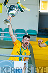 John B. O'Halloran Captain, Kilmoyley lifts the Neilus Flynn cup after the Kerry County Senior Hurling Championship Final match between Kilmoyley and Causeway at Austin Stack Park in Tralee