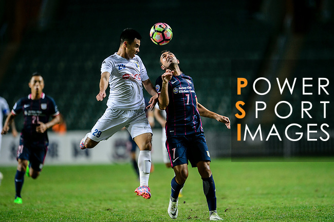 FC Kitchee Midfielder Fernando Augusto (r) fights for the ball with FC Hanoi Midfielder Pham Duc Huy (l) during the AFC Champions League 2017 Preliminary Stage match between  Kitchee SC (HKG) vs Hanoi FC (VIE) at the Hong Kong Stadium on 25 January 2017 in Hong Kong, Hong Kong. Photo by Marcio Rodrigo Machado/Power Sport Images