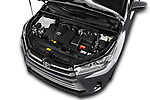 Car Stock 2018 Toyota Highlander LE-Plus 5 Door SUV Engine  high angle detail view