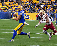 Pitt tight end Nakia Griffin-Stewart (86) gets caught by Boston College linebacker Isaiah McDuffie (55). The Boston College Eagles defeated the Pitt Panthers 26-19 in the football game played at Heinz Field, Pittsburgh Pennsylvania on November 30, 2019.