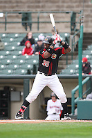 First baseman Kennys Vargas (35) of the Rochester Red Wings waits for the pitch against the Scranton Wilkes-Barre Railriders on May 1, 2016 at Frontier Field in Rochester, New York. Red Wings won 1-0.  (Christopher Cecere/Four Seam Images)