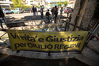 Verità e Giustizia Per Giulio Regeni (Truth And Justice For Giulio Regeni). <br /> <br /> Rome, Italy. 25th Apr, 2021. Today, to mark the 76th Anniversary of the Italian Liberation from nazi-fascism (Liberazione), Azione Antifascista Roma Est, supported by ANPI Centocelle (National Association of Italian WWII Partizans), and various Antifascist organizations, movements, students, political parties, social centres, held a march (Corteo) from Piazza delle Camelie to Villa Gordiani's Park (1.), in Centocelle's district. The demonstration began with a rally in front of the Memorial dedicated to the Partizans of Centocelle victims of nazi-fascist occupation troops and retaliations, where Partizans and their relatives, activists, historians gave speeches to remember the population struggle and solidarity, to keep the memory and the lesson of the Resistenza alive and to reaffirm the values of Freedom and Justice of the Italian Antifascist Constitution as the only way to fight against fascist pulsions re-appearing all over the world.  <br /> On the 4th June 2018 the Centocelle's District was awarded of the State Gold Medal (for Civil Merit) for its Antifascist Resistance (2.).<br /> <br /> Footnotes & Links: <br /> 1. http://bit.do/fQB69 <br /> 2. http://bit.do/fQB7m <br /> Previous 25 Aprile's Events:<br /> - 25 Aprile 2020: http://bit.do/fQB77 <br /> - I Partigiani http://tiny.cc/cwi3nz<br /> - 25 Aprile 2019 (at Ferramonti di Tarsia concentration camp) http://bit.do/fQB8i <br /> - 25 Aprile 2018 http://tiny.cc/dsi3nz<br /> http://www.anpi.it <br /> (Source, Wikipedia.org ENG) The Liberazione: https://en.wikipedia.org/wiki/Liberation_Day_(Italy)