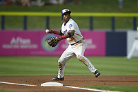 Kannapolis Cannon Ballers third baseman DJ Gladney (8) on defense against the Columbia Fireflies at Atrium Health Ballpark on May 19, 2021 in Kannapolis, North Carolina. (Brian Westerholt/Four Seam Images)