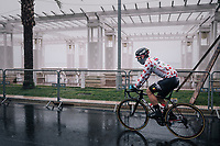 polka dot jersey wearer Thomas de Gendt (BEL/Lotto-Soudal) on his way to the race start on the Promenade des Anglais in torrential rained down Nice (and next to the Mediterranean Sea)<br /> <br /> 76th Paris-Nice 2018<br /> Stage 8: Nice > Nice (110km)