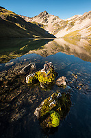 Morning at pristine alpine tarns, Nelson Lake National Park, South Island, New Zealand, NZ