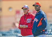 7 March 2013: Washington Nationals Manager Davey Johnson chats with Houston Astros Manager Bo Porter prior to a Spring Training game against the Houston Astros at Osceola County Stadium in Kissimmee, Florida. The Astros defeated the Nationals 4-2 in Grapefruit League play. Mandatory Credit: Ed Wolfstein Photo *** RAW (NEF) Image File Available ***