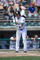 Clint Frazier (20) of the Lynchburg Hillcats checks his bat before stepping up to the plate against the Frederick Keys at Calvin Falwell Field at Lynchburg City Stadium on May 14, 2015 in Lynchburg, Virginia.  The Hillcats defeated the Keys 6-3.  (Brian Westerholt/Four Seam Images)