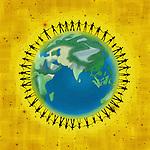 Illustrative image of people on globe representing unity