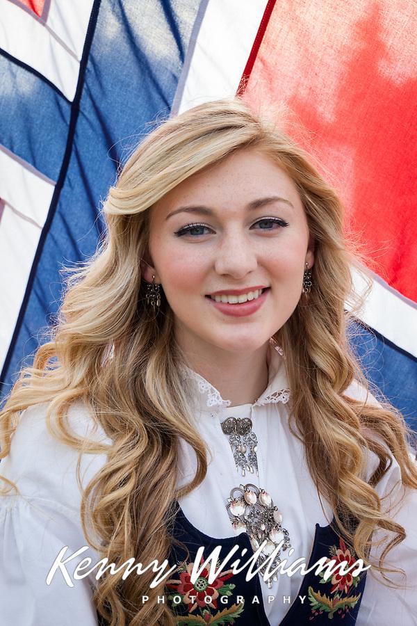 Portrait of beautiful blonde Norwegian girl, 17th of May Festival 2016, Ballard, Seattle, WA, USA.