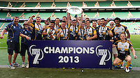 University of Canberra Brumbies lift the trophy after winning the World Club 7s Cup at Twickenham on Sunday 18th August 2013 (Photo by Rob Munro)