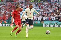 7th July 2021, Wembley Stadium, London, England; 2020 European Football Championships (delayed) semi-final, England versus Denmark;   Mikkel DAMSGAARD DEN held off by Kyle WALKER ENG