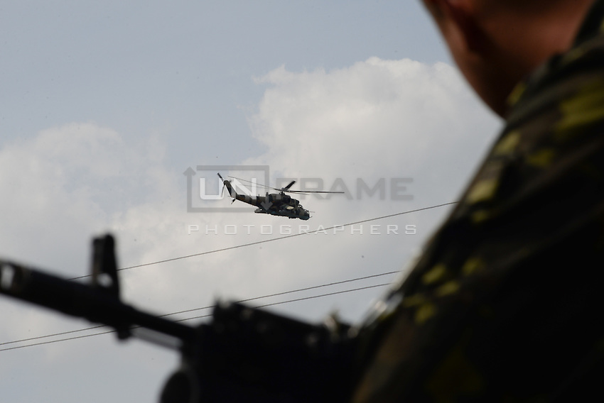 Ukrainian forces are being blocked by local citizens near Kramatorsk city during the anti-terrorist operation.