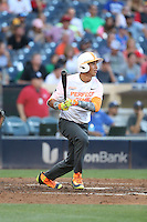 Alex Kirilloff (8) of the East team bats during the 2015 Perfect Game All-American Classic at Petco Park on August 16, 2015 in San Diego, California. The East squad defeated the West, 3-1. (Larry Goren/Four Seam Images)