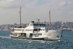 Istanbul, Turkey, Beyoglu from Asian, Anatolian shore, passenger ferries, crossing Bosporos Strait,
