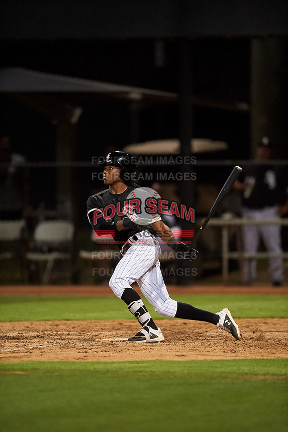 AZL White Sox James Beard (6) hits his first professional home run during an Arizona League game against the AZL Indians Blue on July 2, 2019 at Camelback Ranch in Goodyear, Arizona. AZL Indians Blue defeated the AZL White Sox 10-8. (Zachary Lucy/Four Seam Images)