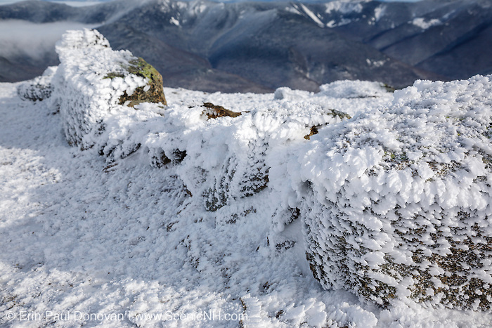 Appalachian Trail - Rime ice on the summit of Mount Lincoln during the winter months in the White Mountains, New Hampshire. The Appalachian Trail (Franconia Ridge Trail) travels over this mountain.